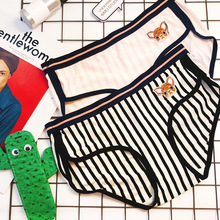 Cute embroidered deer black and white striped pink Modal Cartoon lady sports waist triangle underwear lizzie timewarp notebook pink and white striped