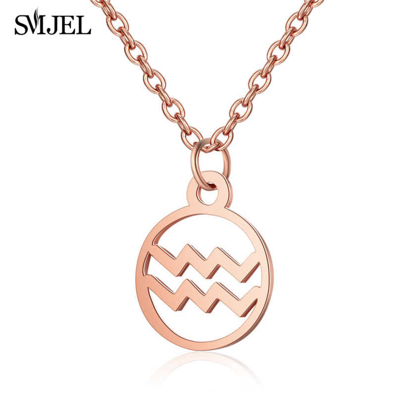 SMJEL Personalized Stainless Steel Star Zodiac Sign Necklaces 12 Constellation Pendant Necklace Women Men Jewelry Friend Gifts