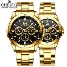 Топ бренд CHENXI набор часы для мужчин женщин роскошные золотые кварцевые пара наручные часы водонепроницаемые часы из нержавеющей стали для мужчин s женские часы