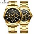 Топ бренд CHENXI набор часы для мужчин женщин роскошные золотые кварцевые пара наручные часы водонепроницаемые часы из нержавеющей стали для ...