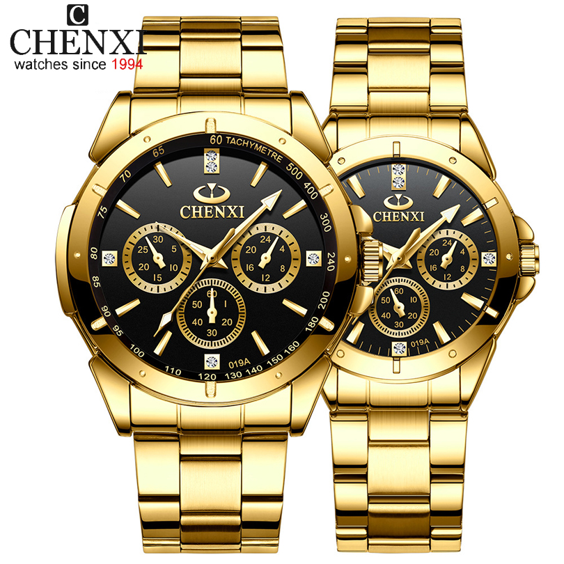 Top Brand CHENXI Set Watch Men Women Luxury Golden Quartz Couple Wristwatch Waterproof Stainless Steel Clock Mens Ladies Watches
