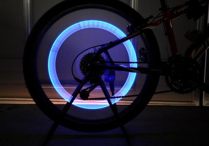 Bicycle Accessories Bike Flashlight Headlamp Laser 2pcs Bike Bicycle Car Wheel Tyre Tire Valve Cap LED Neon Flash Lamp Light