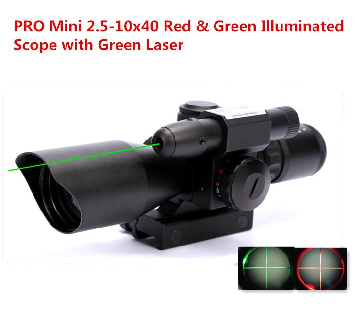 Mini 2.5 10X40 Green Laser Airsoft Gun Scope Hunting Rifle Scope With Mil Dot Reticle And Side Mounted For Military Accessories
