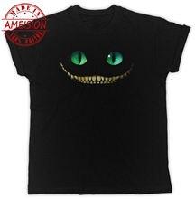 цена на CHESHIRE CAT SMILE ALICE IN WONDERLAND IDEADL GIFT COOL UNISEX BLACK TSHIRT New T Shirts Funny Tops Tee New Unisex Funny Tops