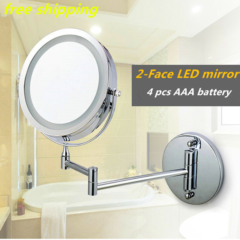 New fashion 7 inches led bathroom mirror Dual Arm Extend 2-Face Makeup mirror magnifying 10X Equipped metal round Wall mirror large 8 inch fashion high definition desktop makeup mirror 2 face metal bathroom mirror 3x magnifying round pin 360 rotating