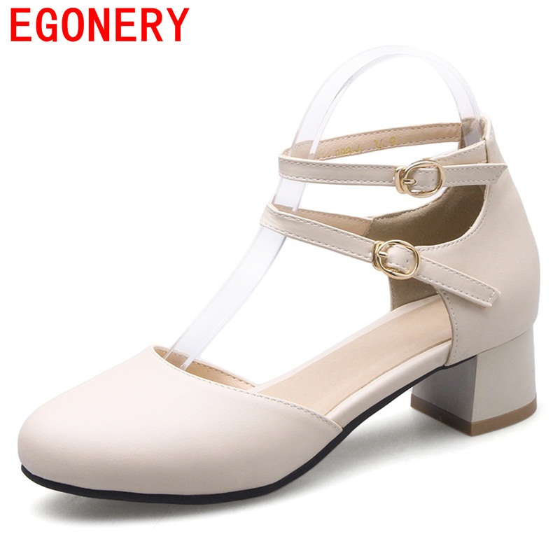 EGONERY 2017 convenient women pumps party sweet casual buckle strap round toe large size concise thick heels spring shoes egonery new sweet lady round toe faux leather slip air spring dress women pumps heels shoes plus size us 12