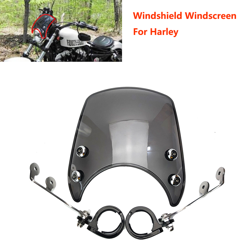 Windshield-Fits Wind-Deflector Xl1200-Series XL883 Custom Motorcycle Harley Sportster title=