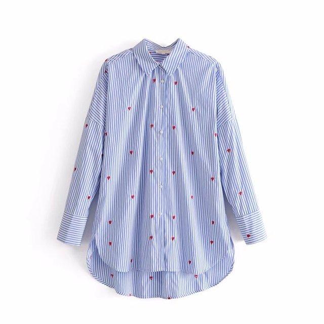 31af9c71180b € 16.31 |Más tamaño azul color de rayas abajo collar bordado mujer camisa  de manga larga de gran tamaño señora algodón blusa y tapas en Blusas ...