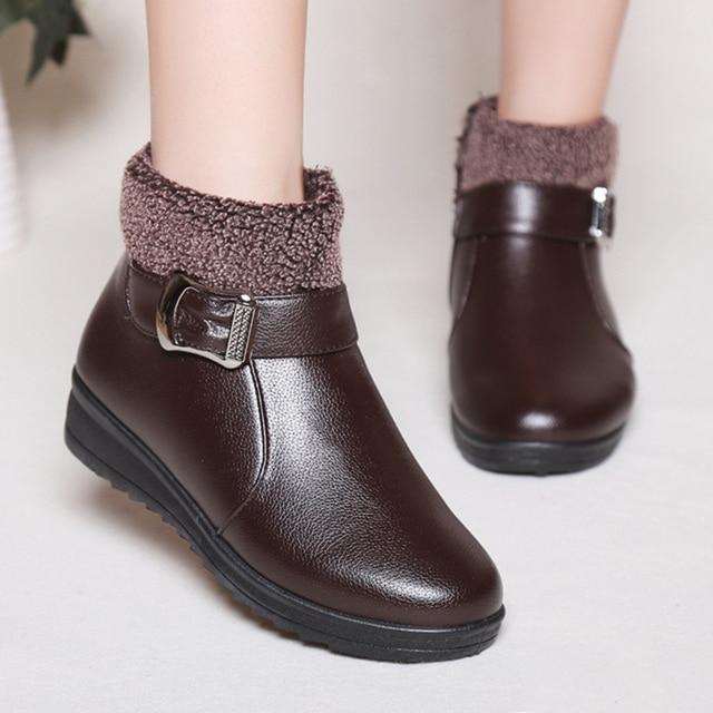 Kış Yeni Rahat Cilt dostu pamuklu ayakkabılar Artı Kadife Sıcak Tutmak Büyük Boy kadın Botları bayan Botları deri ayakkabı