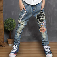 MTCB Chinese Domestic Original Casual Teens Jeans Boys Long Trousers Unique Design Bear Head Kids Pencil Patch Pants Baby Jean