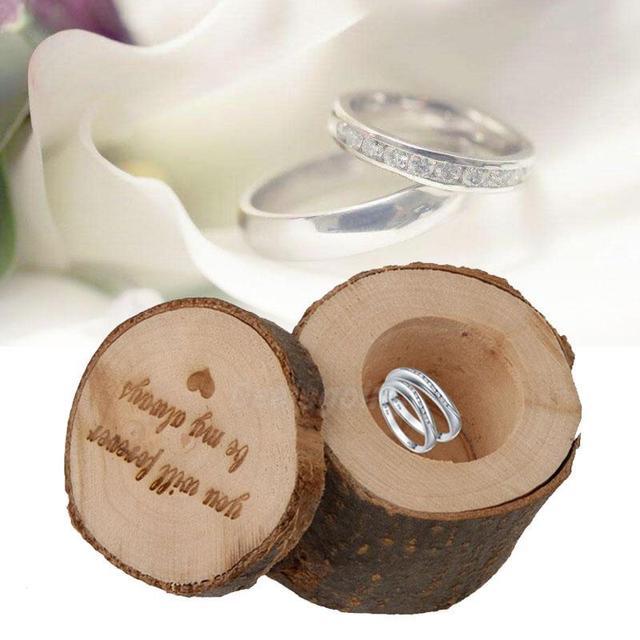 Holz Ring Ohrringe Box Runde Shabby Chic Rustikale Hochzeit Ringe