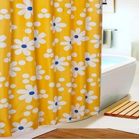 YL22 New Bathing Shower Curtain Fabric Modern Flower Polyester Elegant Waterproof Curtains Bathroom Products With 12Hooks