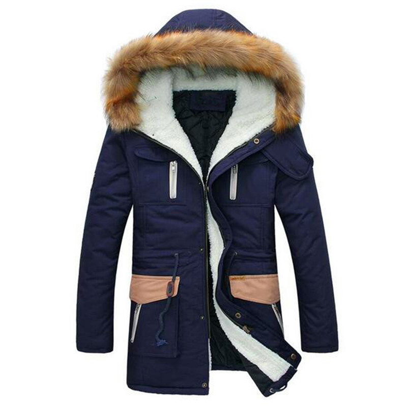 Free Shipping 2017 New Fashion Keep Warm Long Coats Thick Fur Collar Winter Coat Men Hooded Parka