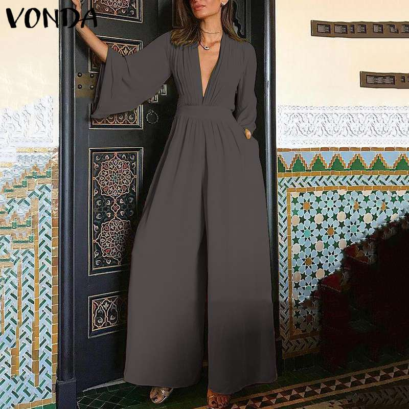 Plus Size 5XL VONDA Elegant Women V neck   Jumpsuits   Summer Long Sleeve Solid Rompers Casual Work OL Overalls Femme Wide Leg Pants