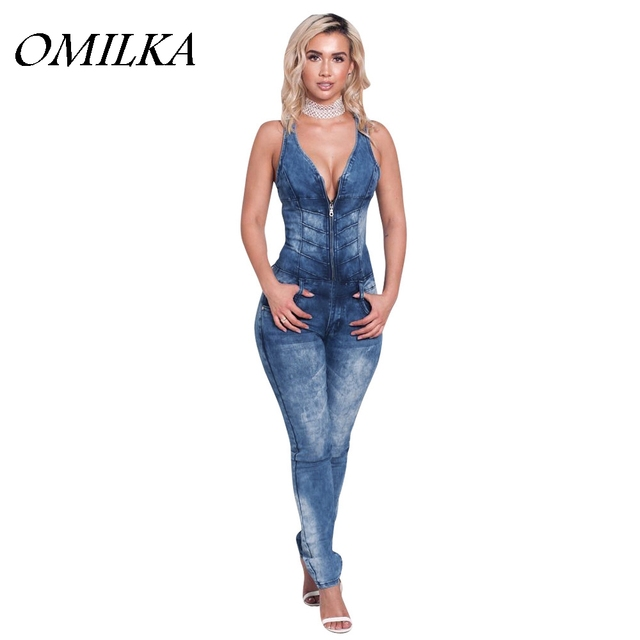 e5f7b9e6e7d OMILKA 2017 Summer Women Sleeveless V Neck Backless Bodycon Denim Jeans  Rompers and Jumpsuits Sexy Blue