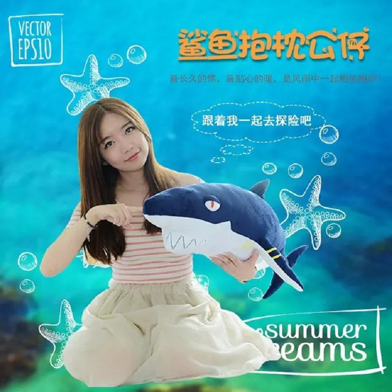 80 cm Animal en peluche requin drôle morsure douce requin en peluche oreiller oreiller coussin cadeau pour les enfants