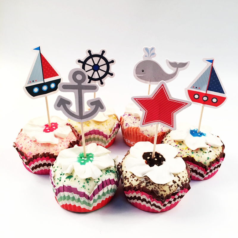 Pirate Themed Cake Topper Happy Birthday Cake Decoration for Kids Nautical Sailing Treasure Black and Red Party Decorations Supplies