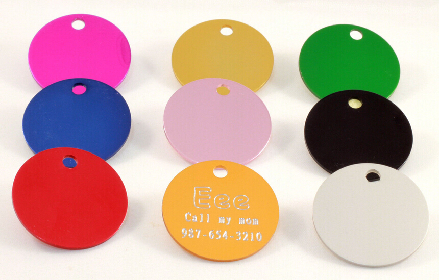 New Arrival 30 30mm Round Shaped Pet Tags Anodized
