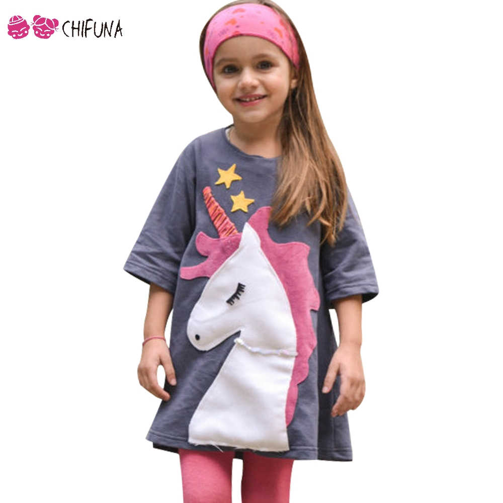 chifuna 2018 New Girls Dress Star Unicorn Patch Embroidery Clothing Children Clothes Kids Casual Clothes Girls Leisure Dress все цены