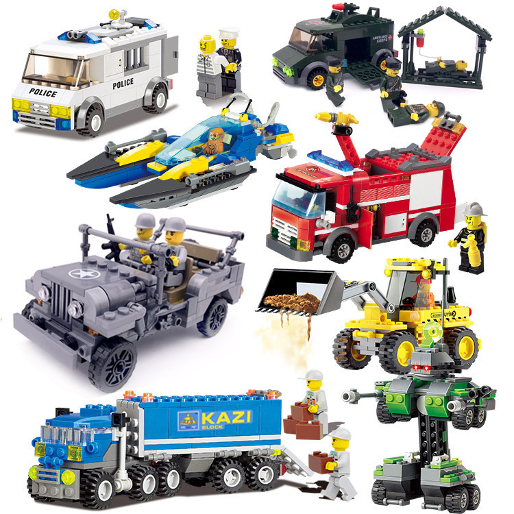 Mini Police Engineering vehicle Fire EngineAssembly Building Blocks Kits Children DIY Educational Toys Kids Birthday Gifts super cool 115pcs set forklift trucks assembly building blocks kits children educational puzzle toys kids birthday gifts