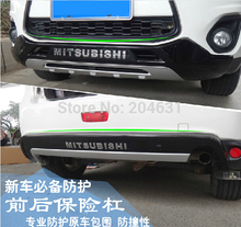 Top Quality! New Chrome Front+Rear Bumper Guard Protector Plate For Mitsubishi ASX 2013 2014 Scratch Resistant and Shockproof fa