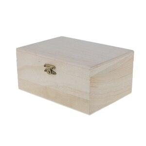 Image 4 - 5 חתיכות רגיל לא צבוע טבעי עץ אחסון תיבת זיכרון חזה קרפט קופסות
