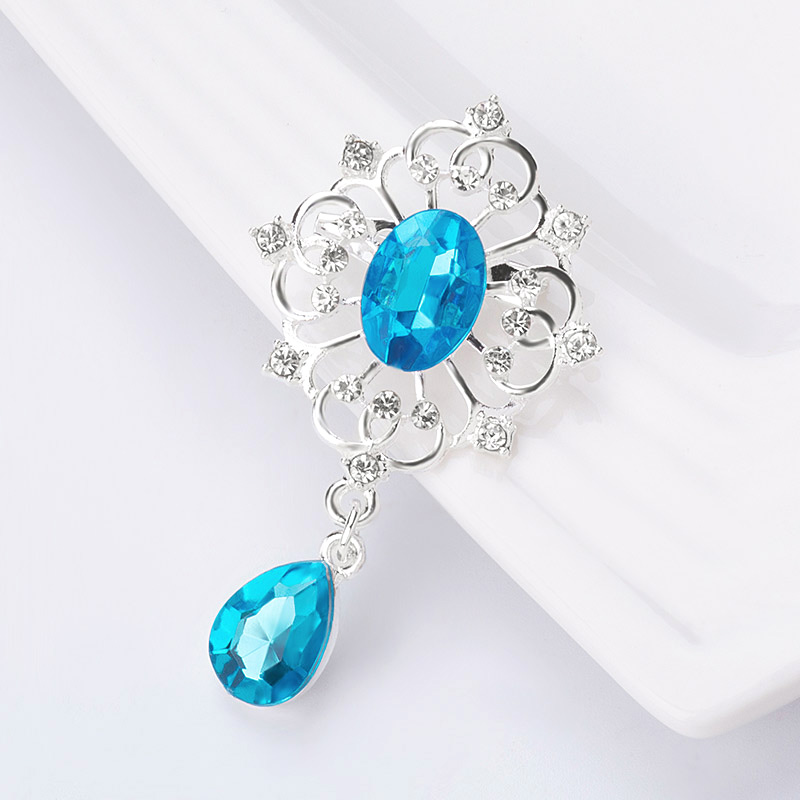 SHUANGR Vintage Mysterious Blue Crystal Waterdrop Shape Pendent Brooch Pin for Women Fashion Clothes Accessories Wholesale