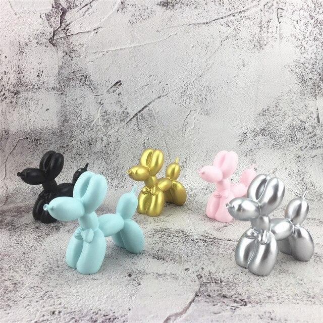 Moda Pequeno balão Cão Escultura de Resina Artesanato Presente Criativo Dtatue Partido Do Cozimento Do Bolo de Decoração Para Casa Decoração de Mesa de Sobremesa