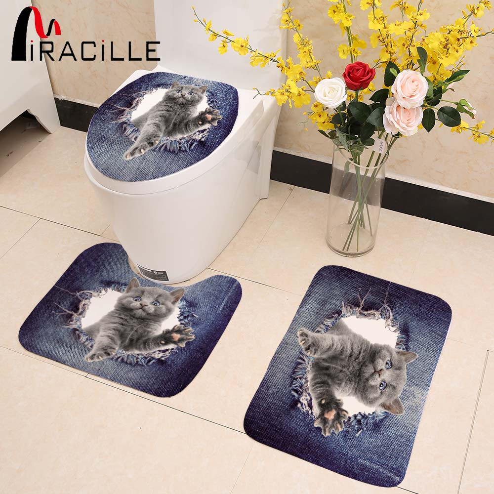 Miracille Jeans Design Home Decor Cute 3D Animal Cat Dog Printed 3PCS Set Bathroom Non-slip Floor Carpets WC Toilet Seat Mats