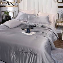 2019 Grey Solid Simple Stitching Quilt Satin Fabric Soybean Polyester Filler Comforter Print Twin Queen Air-condition Quilt allover flower print solid quilt
