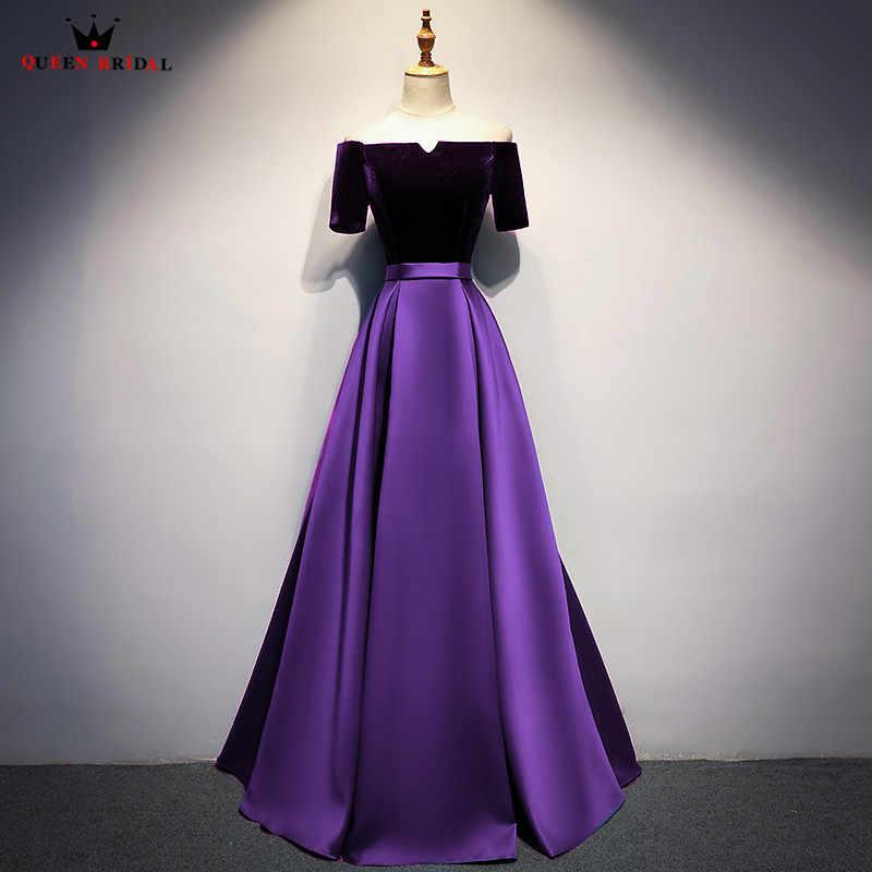 117f424c48fcbe6 Фиолетовое платье трапециевидной формы с коротким рукавом из атласного  бархата, Длинные вечерние платья, новинка