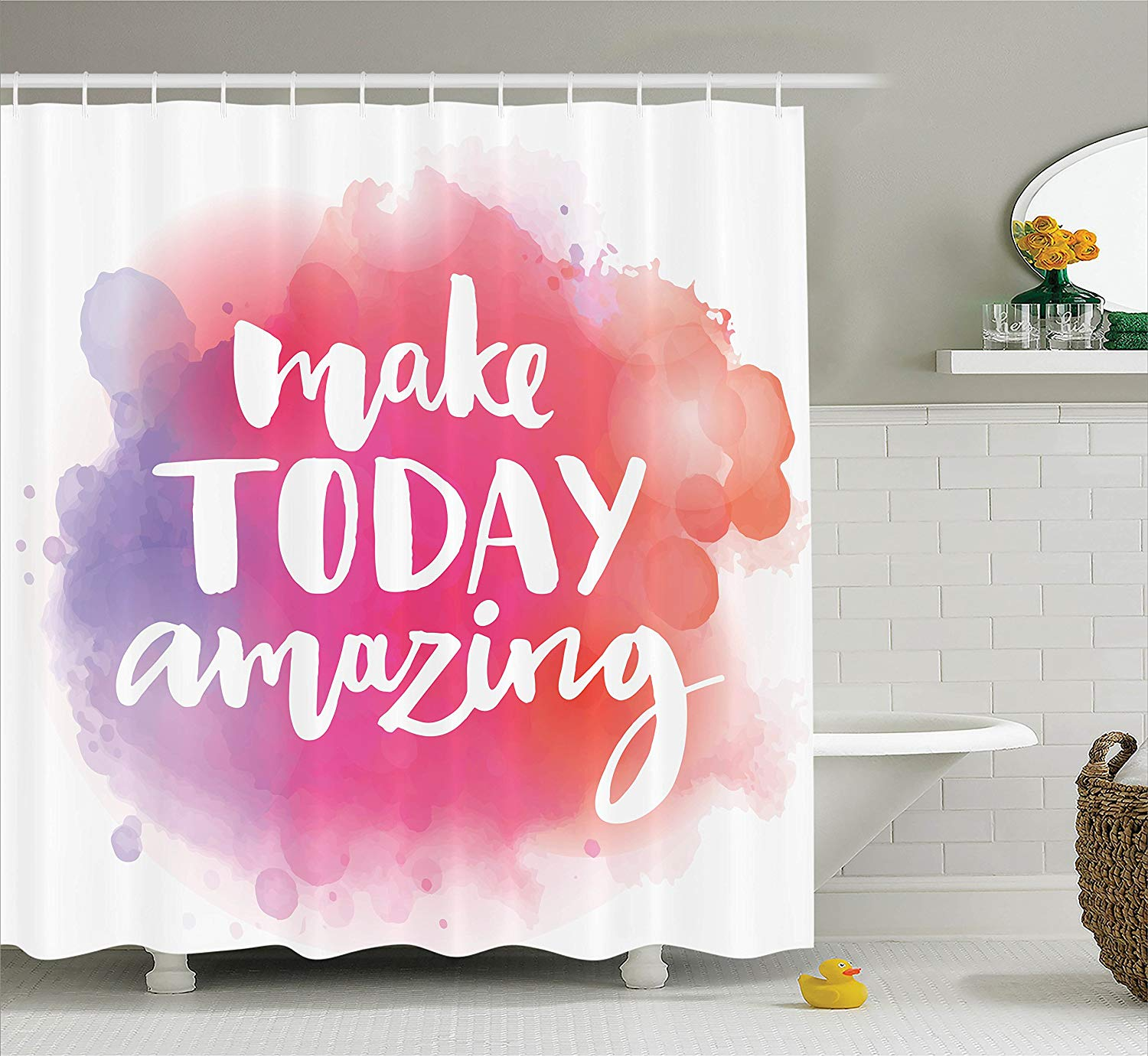 Quotes Decor Collection Make Today Amazing Inspirational Quote on Colorful Watercolor Splash Background Polyester Fabric image