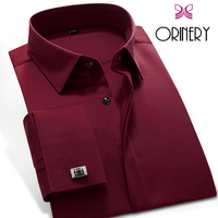 ORINERY Hot Sale Spring Mens Dress Shirt Business French Cuff Shirt with Cufflinks Fashion Wedding Tuxedo Shirt Brand Clothing