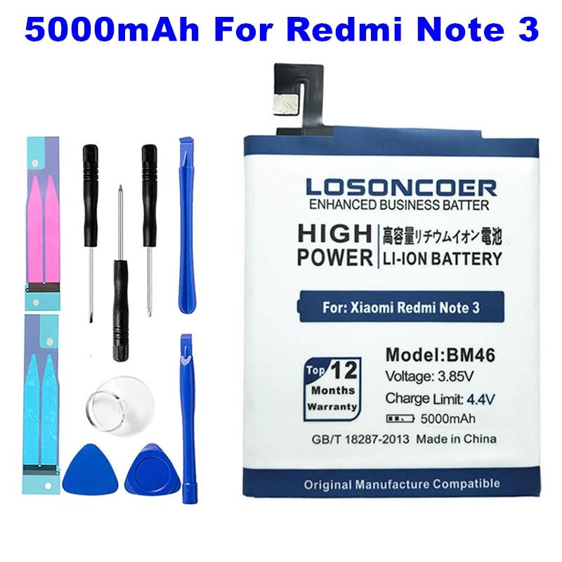 LOSONCOER 5000 мАч BM46 батарея применение для Xiaomi redmi Note 3 Xiaomi redmi Note 3 Pro Note 3 Prime купить на AliExpress