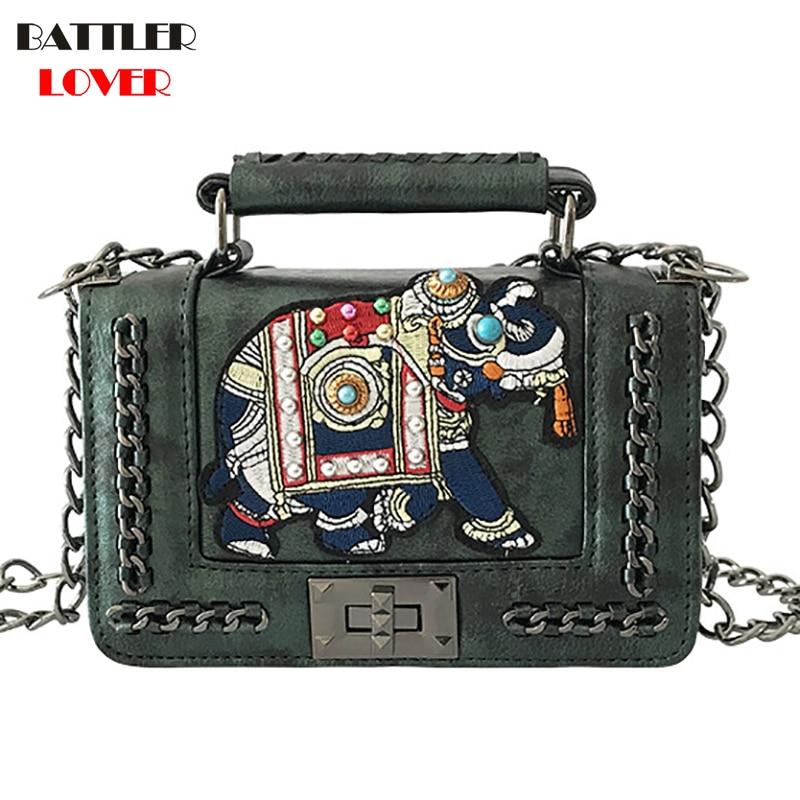 Summer Pearl Elephant Embroidered Chain Bag Woman Luxury Brand Handbags 2019 PU Leather Flap Shoulder Bag Women Crossbody Bag