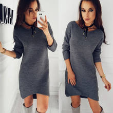 New Women Winter Warm Long Sleeve Jumper Tops Knitted Sweater Loose Tunic Mini Dresses(China)