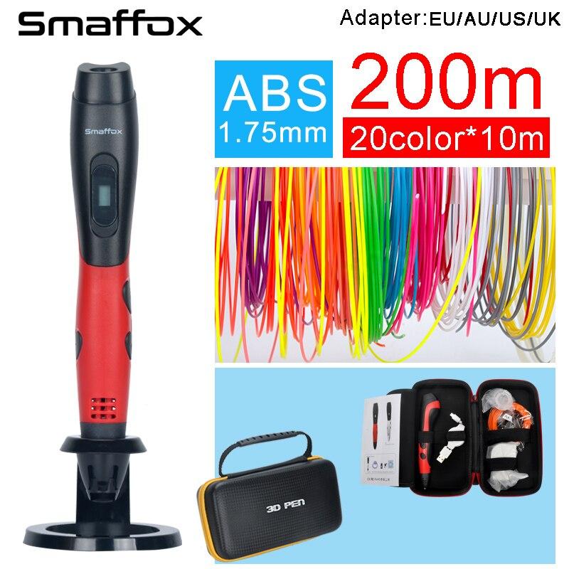 SMAFFOX 3D pluma sma-01 con 1,75mm abs filamento niños diy dibujo 3D moldeo, 5 V 2A adaptador usb, pantalla oled Educación Creativa