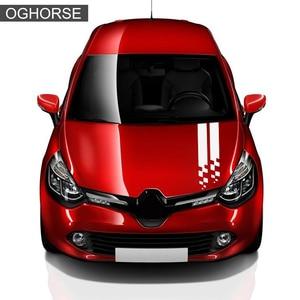 Image 4 - Racing Sport Car Hood Sticker Tronco Cofano Grafica In Vinile Della Decalcomania Per Renault Clio RS Campus Megane 2 3 Twingo Sandero accessori