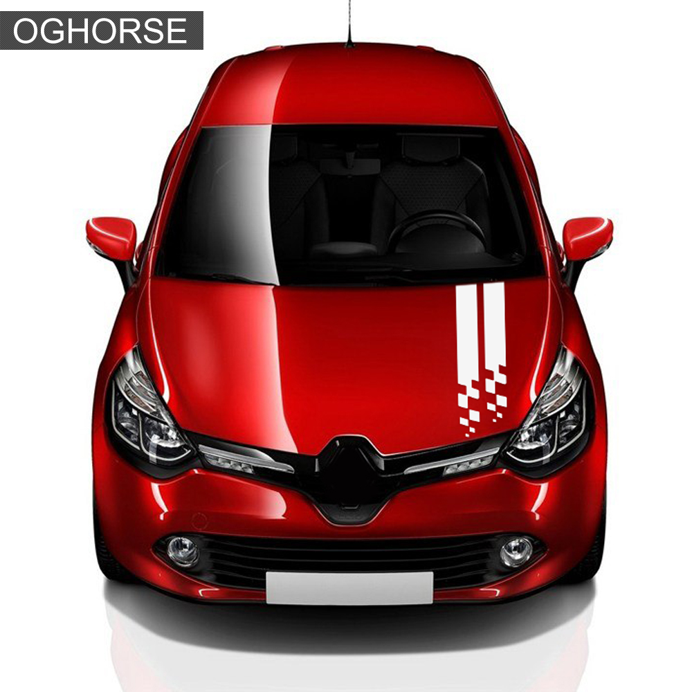 Image 4 - Racing Sport Car Hood Sticker Trunk Bonnet Vinyl Graphics Decal For Renault Clio RS Campus Megane 2 3 Twingo Sandero Accessories-in Car Stickers from Automobiles & Motorcycles