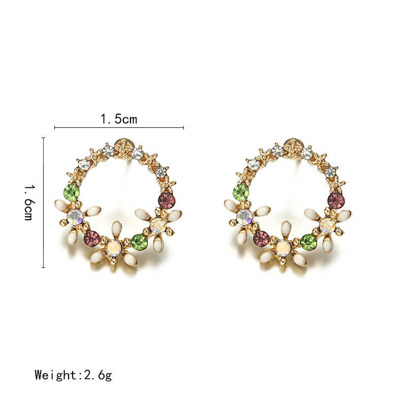 2018 New Summer Elegant Big Circle Flower Stud Earrings For Women Fashion Simulated Pearl Rhinestone Earring Boucle D'oreille