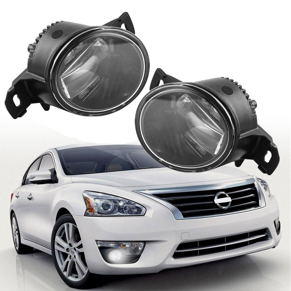 LED Style Pair fog lamp For Nissan Altima Maxima Rogue Sentra Clear Lens Fog Lights Driving
