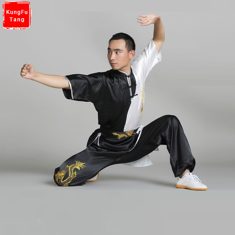 цена Black Short Sleeve Tai Chi Suits Wushu Embroidered Kung Fu Wushu Uniform Martial Arts Performance Clothes Set for men women kids онлайн в 2017 году
