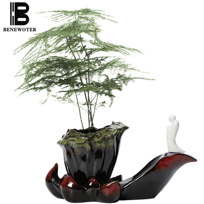 Nouveau Style chinois Zen petit Vase en céramique plantes succulentes bonsaï bureau décoration jardin jardinières Mini plantes Pots pour fleurs