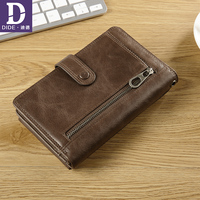 DIDE Casual Men Wallets Genuine Cowhide Wallet High Quality Real Leather Short Male Wallet Coin Phone