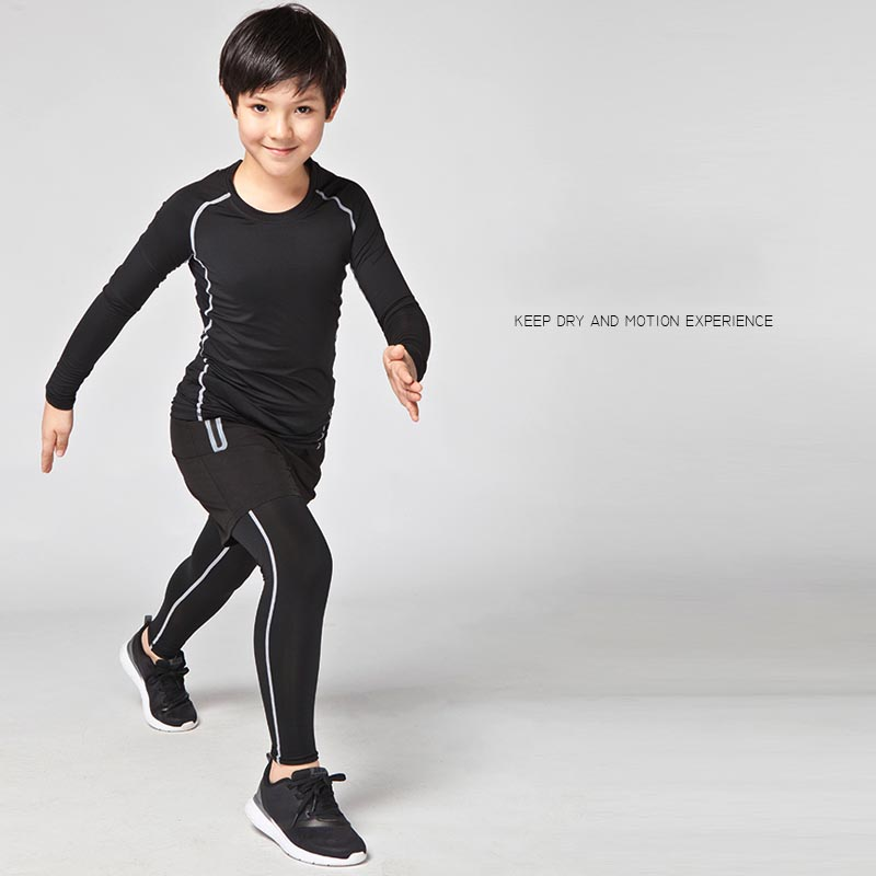 Enfants garçons compression basketball shorts Survetement jambe de  formation de football de sport collants leggings de course définit quick  sec dans ... 1ded50618e6