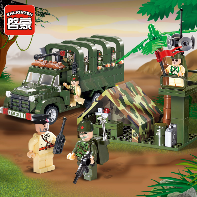 Enlighten 811 Military Series Army Truck with Soldiers Combat Zones Educational Building Blocks Toys For Children Kids Gifts