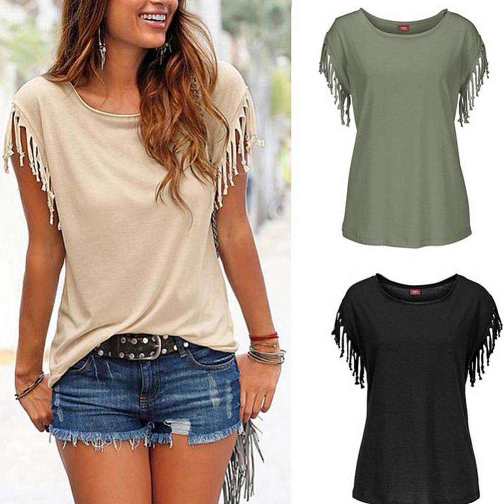 Women Ladies Summer Sexy Slim O Neck Tassel Blouses Tops Casual Loose Short Sleeve Tee Shirts blusas chemise femme New 2017