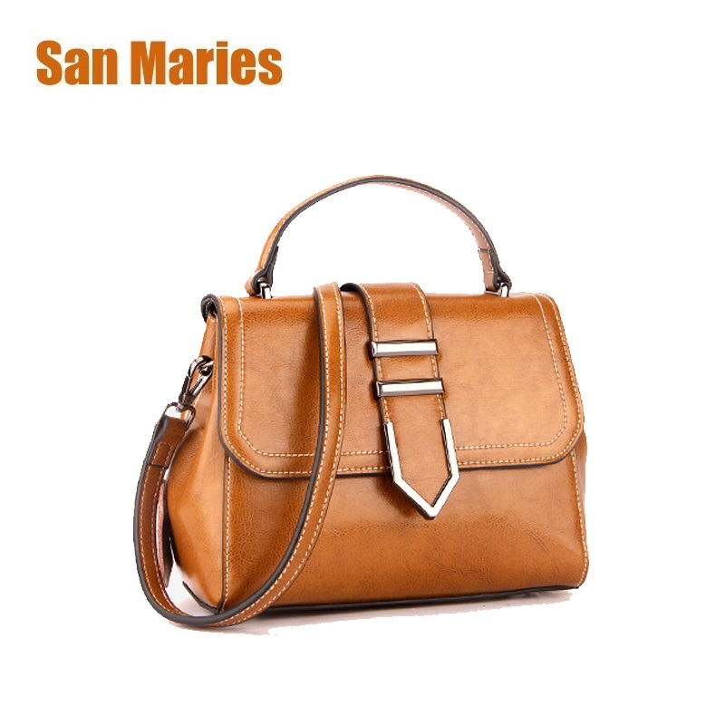 San Maries 100% Genuine Leather Women Handbag New Arrival Female Korean Fashion Totes Crossbody Messenger Bag Shoulder Hand Bags san maries 100% genuine leather women handbags 2018 new arrival female korean fashion totes crossbody bag shoulder bags handbags