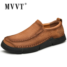 MVVT Genuine Leather Shoes Outdoor Men Casual Quality Cow Loafers Lace-Up Flats Man Footwear