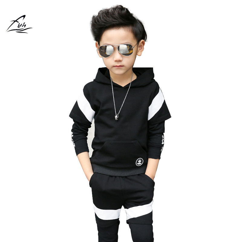 FYH Boys Clothing Set School Boys Casual Suit Hooded Sweatshirt+Pants 2Pcs Teens Sports Suit Sets Long Sleeve Casual Tracksuit